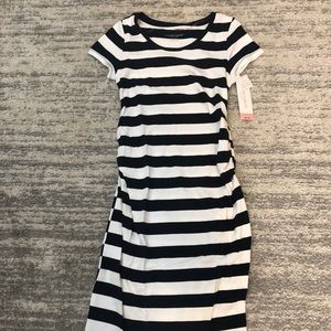 NWT Navy and white striped maternity dress